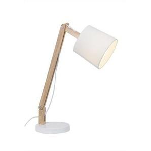 CARLYN-Lampe à poser Bois H53cm Blanc Brilliant