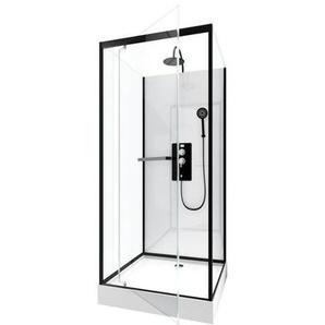 Cabine de douche carrée 90x90x230cm - extra blanc et profilé noir mat - LUNAR SQUARE 90 - AURLANE