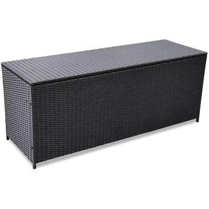 Boîte de rangement de jardin Noir 150x50x60 cm Résine tressée - VIDAXL