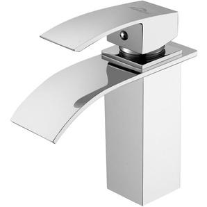 Robinet Salle de Bain Cascade Mitigeur de Lavabo Robinet pour lavabo et vasque Salle de Bain Laiton Chromé - AURALUM