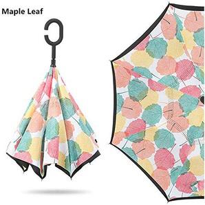 Easy Go Shopping Parapluie inversé Double Couche avec poignée en Forme de C Parapluie Droit Coupe-Vent et Anti-UV Parapluie (Couleur : Maple Leaf)