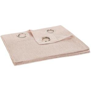 Rideau à illets en coton et lin rose à lunité 140x250