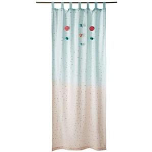Rideau à illets en coton bleu et rose à lunité 100x250
