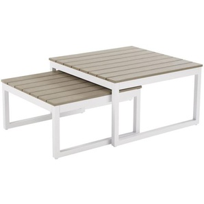Tables gigognes de jardin en aluminium blanc Escale