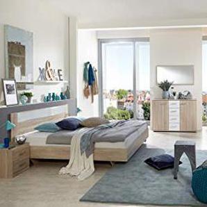PEGANE Chambre Adulte complète, Imitation chêne, rechampis Verre Blanc + Chrome - Dim : 160 x 200 cm