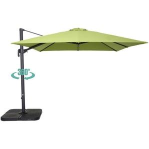 Parasol déporté carré 3 m en aluminium - Vert - OVIALA
