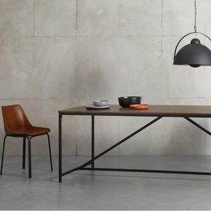 Lomond, très grande table 10 personnes, bois de manguier et métal noir