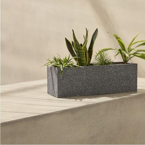 Savannah, jardinière longue en terrazzo, gris