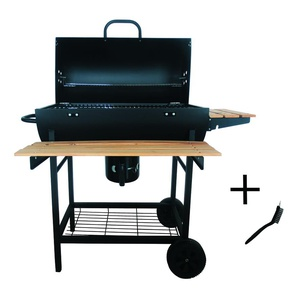 barbecue à charbon 70x35cm + brosse - smoker chef xl + - robby
