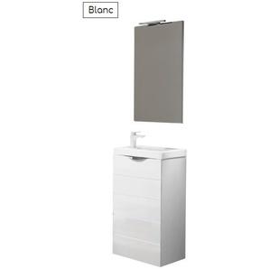 Batinea - Meuble lave-main avec plan vasque Joy, Colorado, Avec miroir + applique