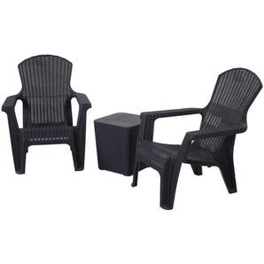 Salon de jardin 2 pers. 3 pièces - ensemble bistro style néo-rétro - 2 fauteuils lounge + table basse coffre - polypropylène noir imitation rotin - Outsunny