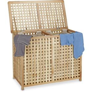 Panier à linge duo en bois de noyer coffre à linge double bac HxlxP 46,1 x 87,9 x 68,1 cm 2 compartiments 2 sacs à linge en lin blancs, couleur naturelle - RELAXDAYS