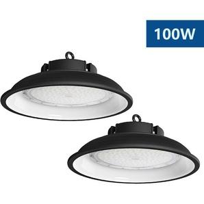 2×Anten 100W UFO Projecteur LED Lampe Industrielle Suspension IP65 Phare de Travail 13000LM Spot Lumière Blanc Froid 6000K Coque Noir