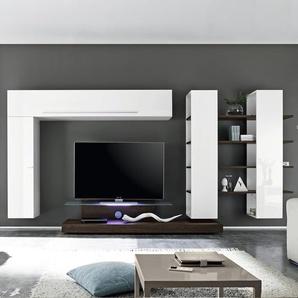 Ensemble meuble TV blanc et wengé ELVIRA