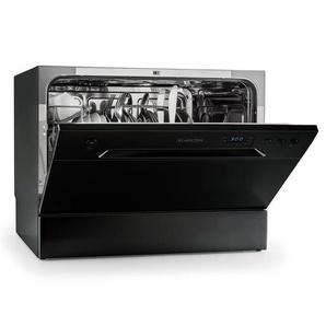 Klarstein Amazonia 6 - Mini Lave-vaisselle compact et silencieux , 1380W pour 6 couverts (pose libre, panier à  couverts, 6 programmes, aquastop) - noir - classe A+