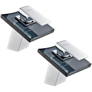 2pcs Robinet Mitigeur lavabo Verre Gris Waterfall Robinetterie Évier Salle de Bain WC Toilettes - AURALUM