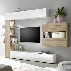 Ensemble meubles tv blanc et couleur chêne moderne FINO 3