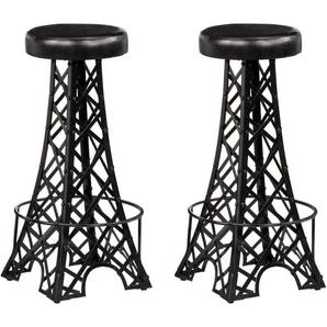 Lot de deux tabourets de bar design chaise siège cuir véritable - HELLOSHOP26