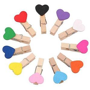 Uooker Lot de 11 mini pinces à linge en forme de cœur en bois coloré pour loisirs créatifs en bois naturel 11 couleurs