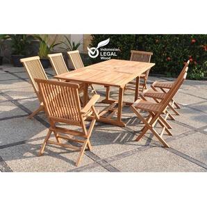 Kajang : Salon de jardin Teck massif 8 personnes - Table rectangulaire + 6 chaises + 2 fauteuils