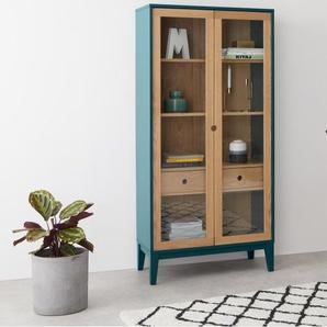 Ralph, armoire haute en verre, chêne et bleu canard