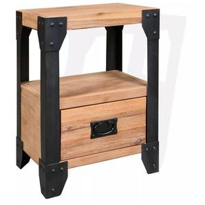 Table de nuit chevet commode armoire meuble chambre bois dacacia acier 40 x 30 x 54 cm - Bois - HELLOSHOP26