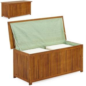 Coffre boîte de rangement 117cm en acacia avec bâche intérieure - DEUBA