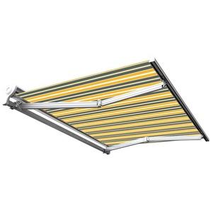 Store banne manuel Demi coffre pour terrasse - Gris jaune - 3 x 2,5 m - SUNNY INCH ®