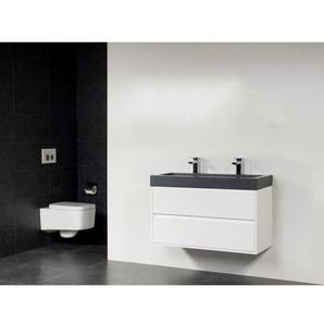 Saniclass New Future Grey Stone Meuble salle de bain 100cm brillant avec miroir Blanc SW17796