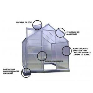 Serre en polycarbonate et aluminium naturel 5,9 m² avec base - LA MAISON DU JARDIN