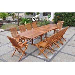 Lubok : Salon de jardin Teck huilé 10 personnes - Table rectangulaire + 8 chaises + 2 fauteuils