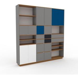 Bibliothèque murale - gris, combinable, étagère, avec porte gris et tiroir gris - 229 x 239 x 35 cm
