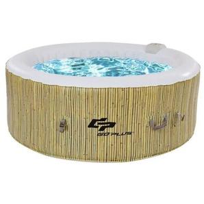 COSTWAY Spa Gonflable Spa 4 Places Spa Rond Chauffage,Massage à bulles,Filtration de LEau,Gonflage Automatique 180 x 180 x 65 cm