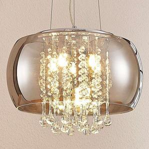 Suspension LED Joani, verre fumé 40 cm