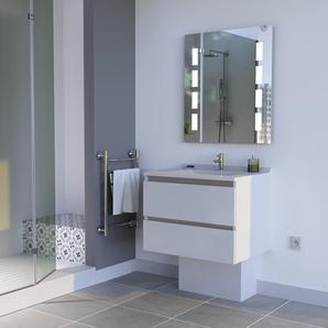 Meuble ARLEQUIN 70x55 cm avec plan vasque et miroir PRESTIGE - Coloris au choix | gris - blanc