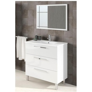 Meuble de salle de bain 3 tiroirs sur le sol 80 cm Blanc Brillant avec miroir | Blanc brillant - Avec colonne et lampe LED - BAGNO