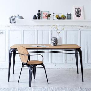 Table en métal et bois de saule 170 Sam noire