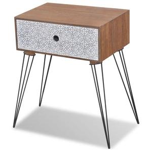 Table de nuit chevet commode armoire meuble chambre avec 1 tiroir rectangulaire marron - Marron - HELLOSHOP26