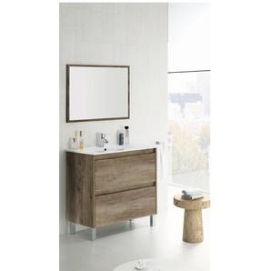 Meuble de salle de bain sur le sol 80 cm couleur Nordik avec miroir | Couleur - Avec lampe Led - BAGNO