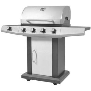 Barbecue à gaz 4 + 1 zone de cuisson Noir et argenté - CREARTIVE DESIGN