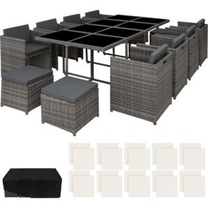 Salon de Jardin NOUVELLE ORLEANS Résine Tressée et Aluminium Encastrable 1 Table 8 Fauteuils 4 Tabourets Gris + 1 Housse - TECTAKE
