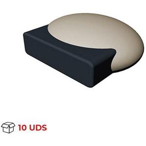 Boîte avec 10 Butée de porte adhésive modèle ELIPSE, en plastique, fini crème et de forme ovale - REI