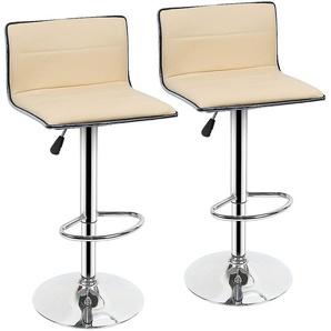 Lot de 2 Tabourets Bar JAUNE CLAIR Chaises pour Salon Bar Hauteur 80 - 100cm en Similicuir - OOBEST