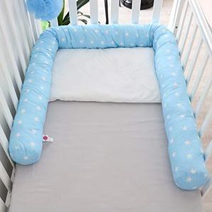 Babymajawelt® Tour de lit pour lit bébé 210 cm Stars bleu