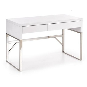Bureau design rectangulaire blanc laqué Albin