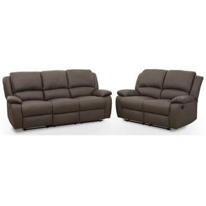 RELAX Ensemble de 2 canapés de relaxation droit 3 + 2 places - Simili taupe foncé - Contemporain - L 190 et 144 x P 93 cm
