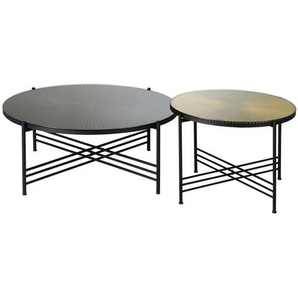 Tables gigognes en métal ondulé noir et doré Calabra