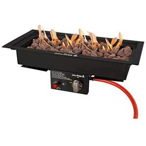 Easyfires Brûleur à gaz encastrable en Acier Inoxydable 50 x 25 cm 78 x 38 cm Noir