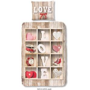 GOOD MORNING  Parure de couette Love style scandinave - 1 housse de couette 140x200 cm + 1 taie 60x70 cm beige, rouge et blanc