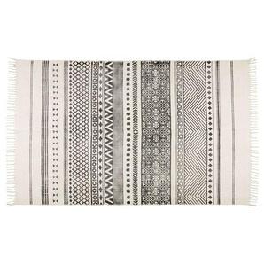 Tapis en coton écru motifs noirs 140x200 VIZCA
